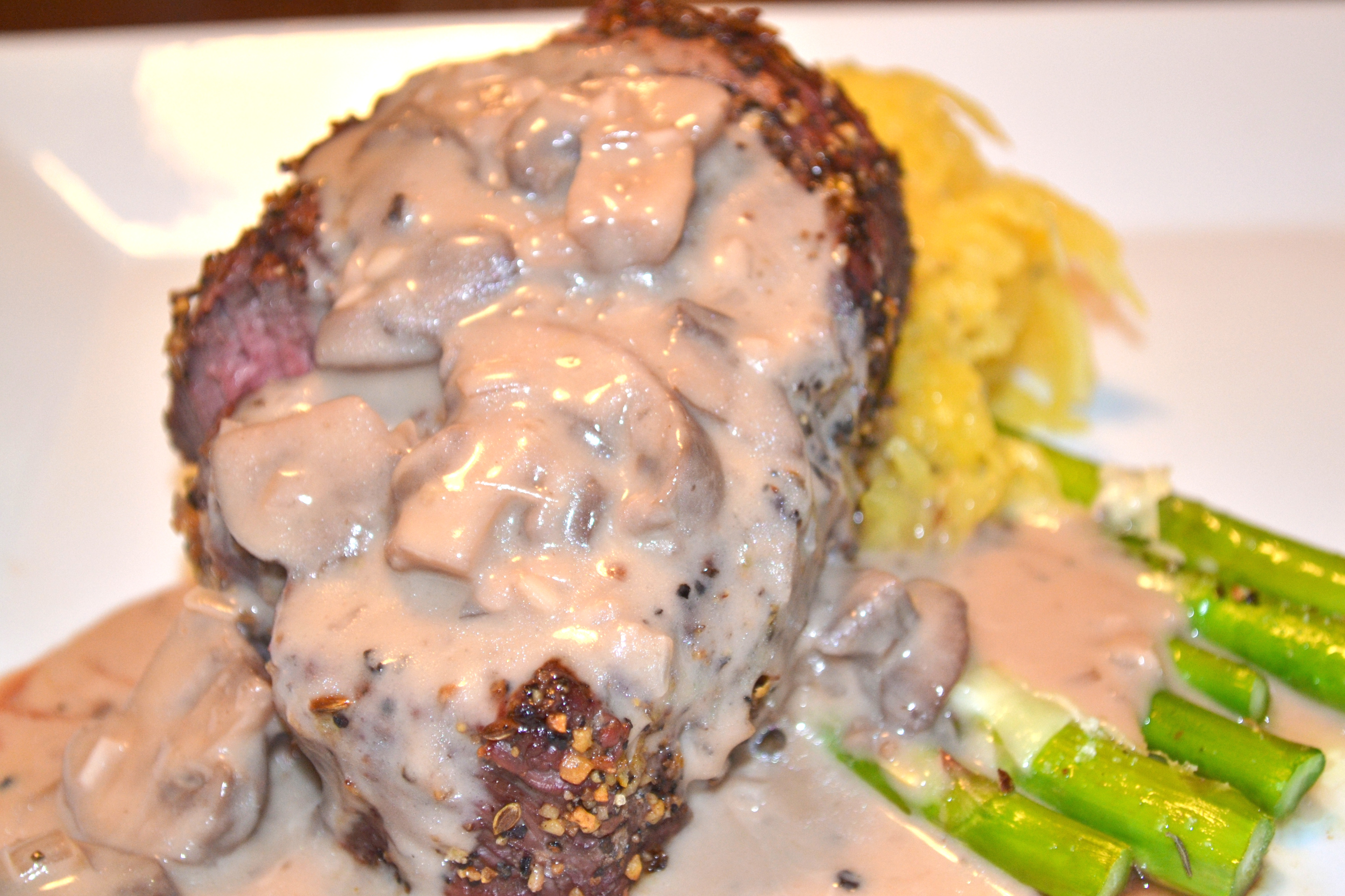 ... Filet Mignon with a Brandy-Red Wine Mushroom Sauce - A Hint of Wine