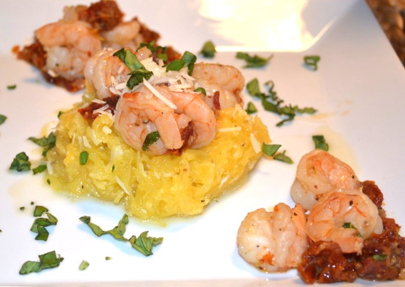 White Wine Drenched Shrimp With Sun Dried Tomatoes And Spaghetti