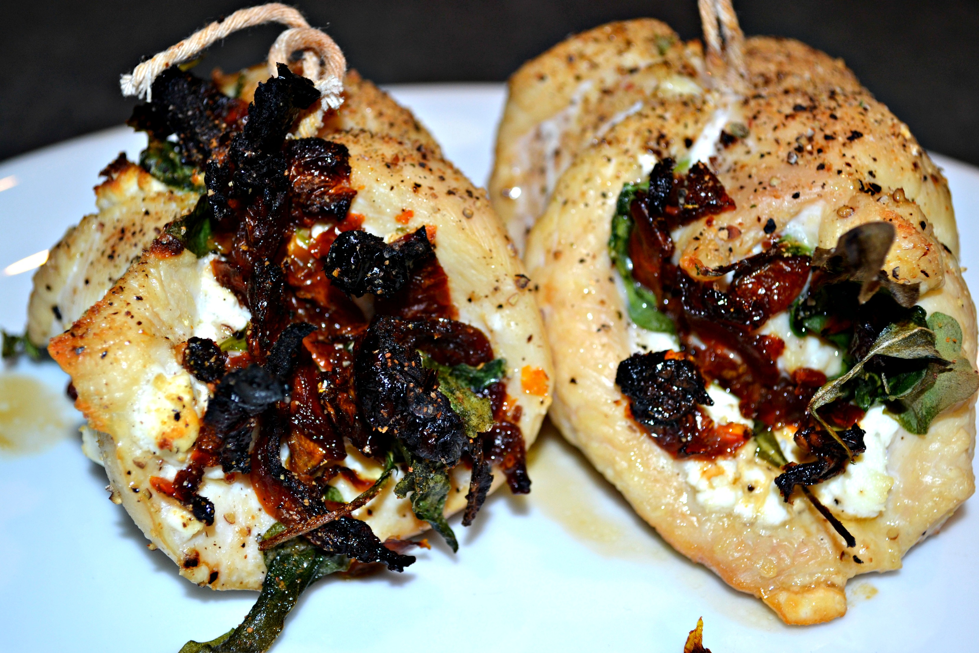 Sun-Dried Tomato, Goat Cheese and Arugula Chicken Roulades | A Hint of ...