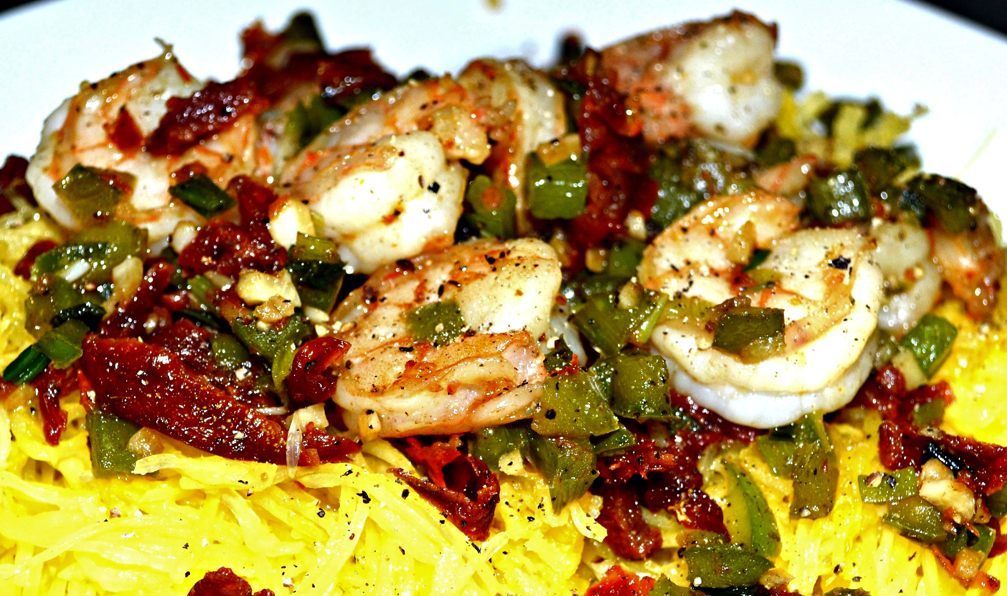 ... -Dried Tomatoes, Green Peppers and Spaghetti Squash - A Hint of Wine