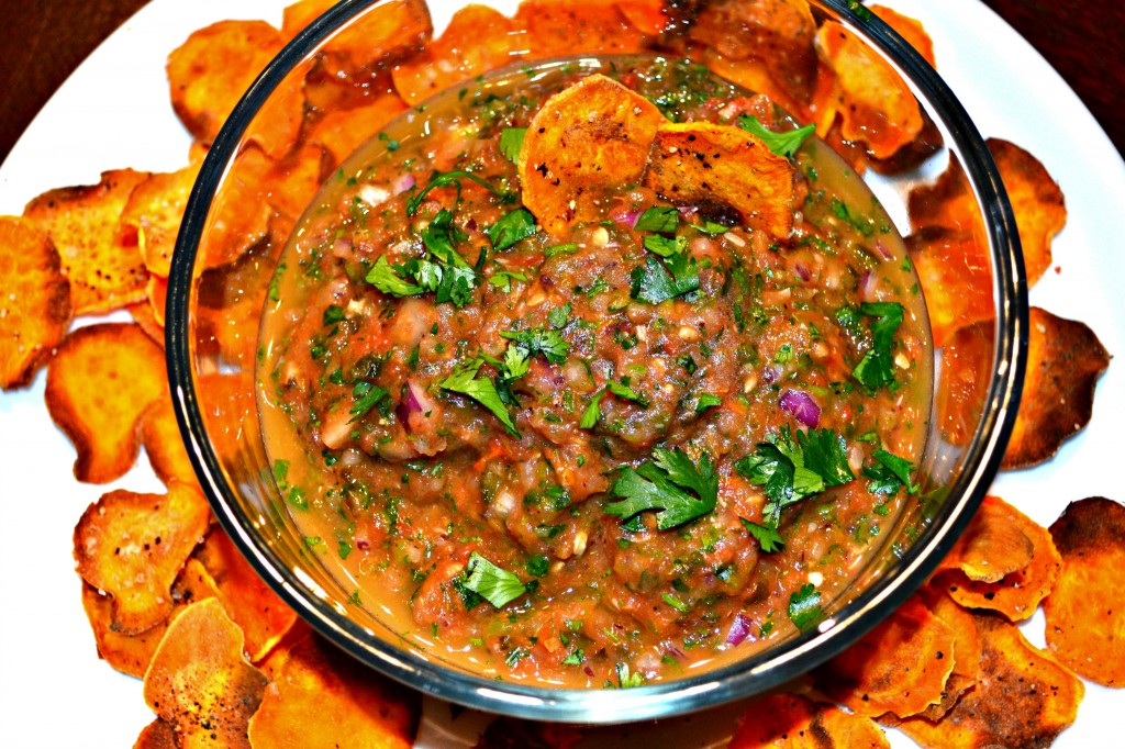 Roasted Tomato Salsa and Baked Sweet Potato Chips - A Hint of Wine