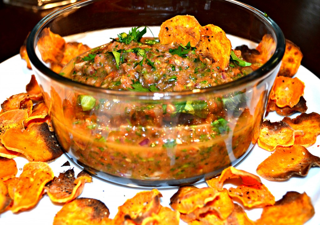 DSC 1711 1024x720 Roasted Tomato Salsa and Baked Sweet Potato Chips