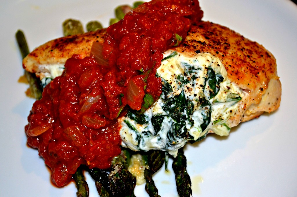 Ricotta and Spinach Stuffed Chicken with an Herb-Tomato Sauce - A Hint ...