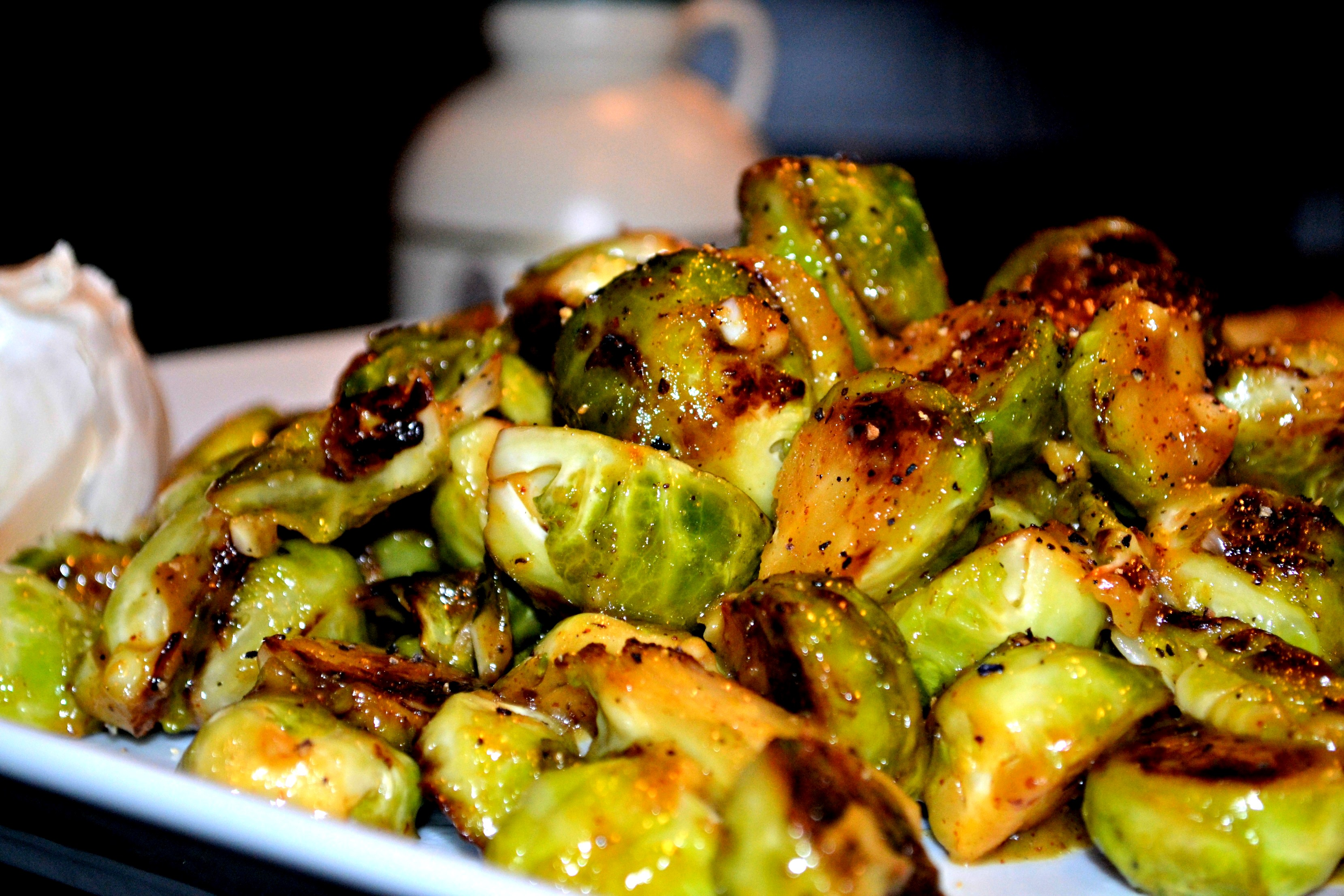 Pan-Sauteed Maple-Mustard Brussel Sprouts | A Hint of Wine