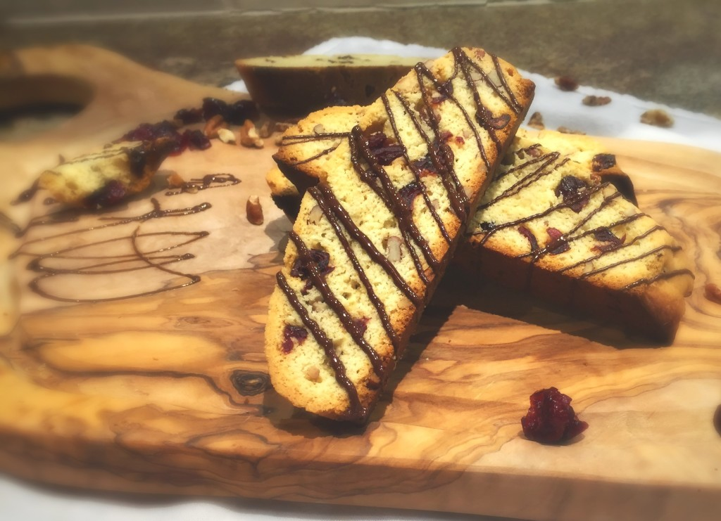 Pecan And Cranberry Holiday Biscotti With A Dark Chocolate