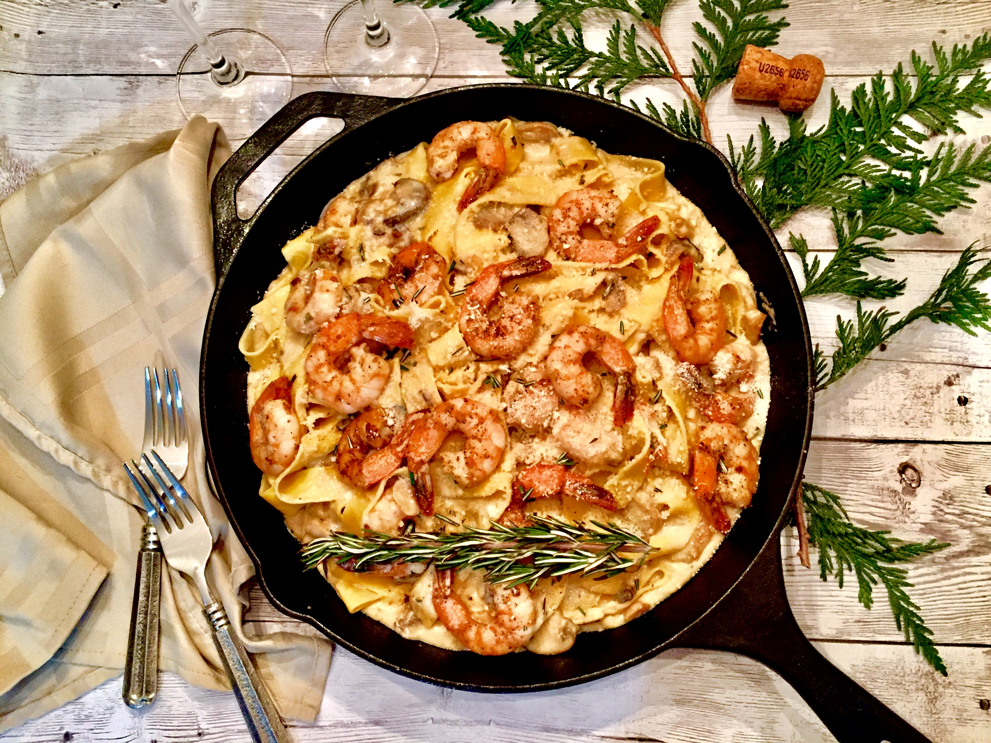 Champagne Shrimp Alfredo with Rosemary & Gouda