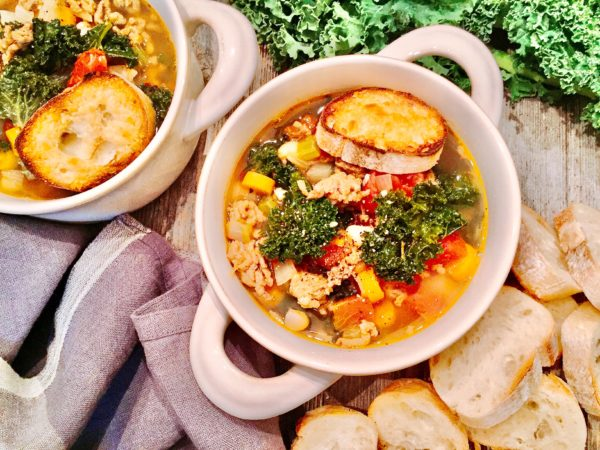 Hot Italian Sausage, Kale, and White Bean Soup - A Hint of Wine