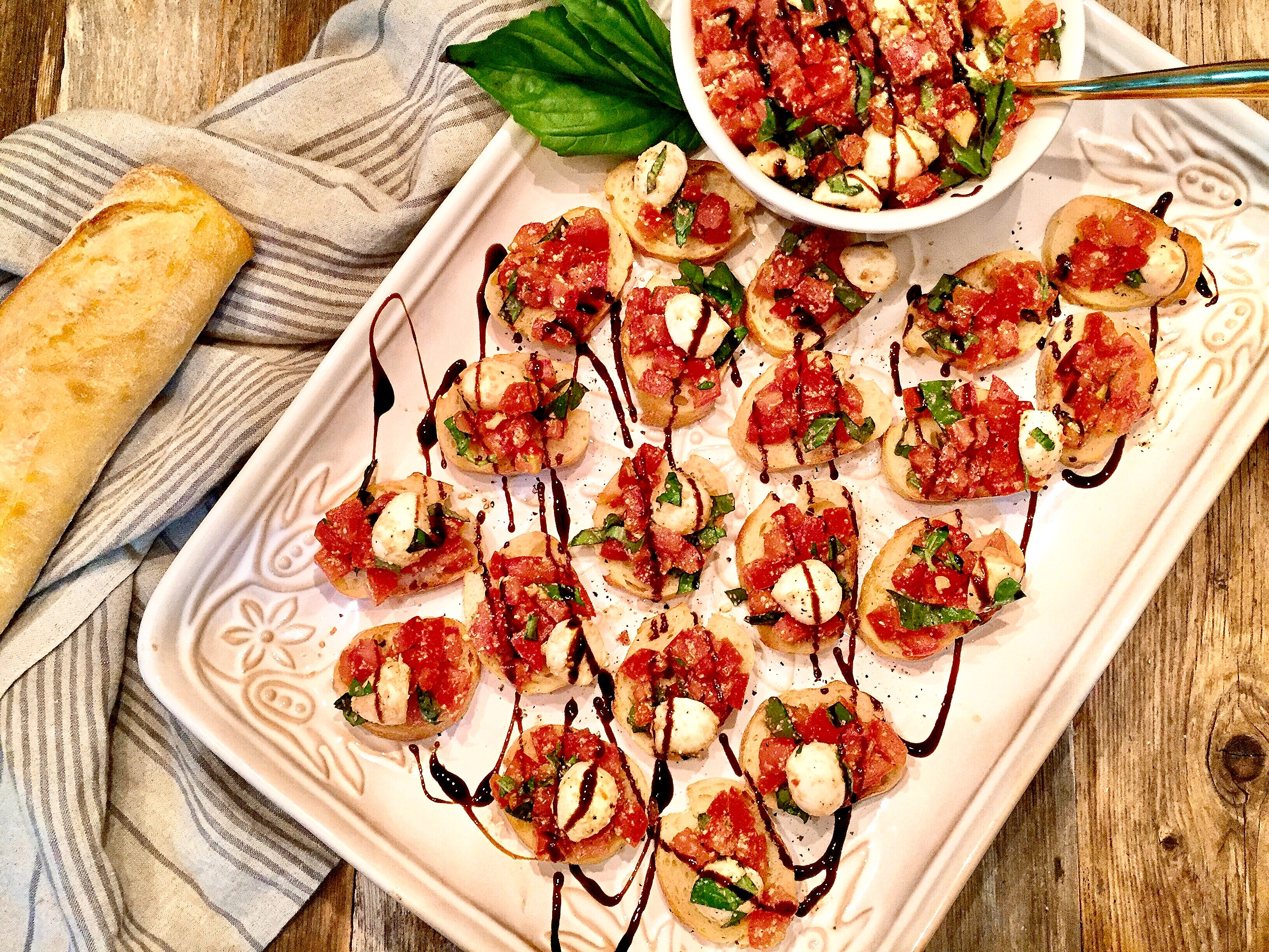 tomato bruschetta with mozzarella and basil a hint of wine. Black Bedroom Furniture Sets. Home Design Ideas