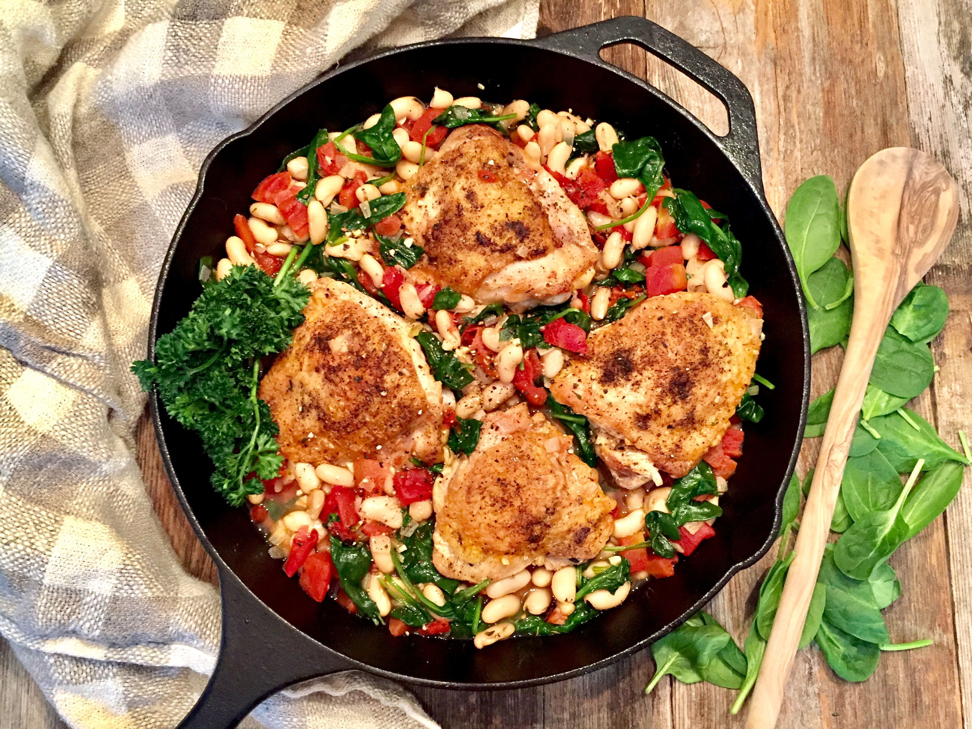White Bean And Spinach Braised Chicken Thighs One Pot Dish A Hint Of Wine